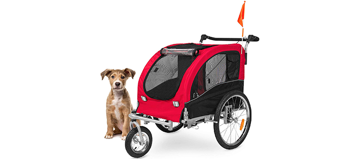2 in 1 Dog Stroller with Reflectors and Safety Flag