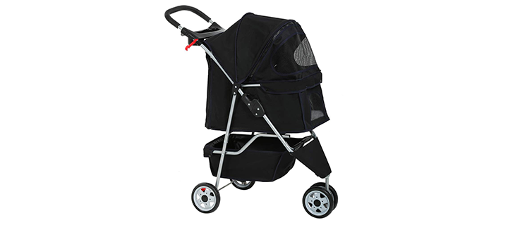 BestPet 3-Wheel Cat Stroller with 360-degree Wheels