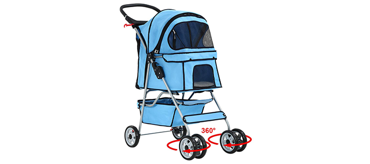 BestPet 4-Wheel Cage Stroller for Cats