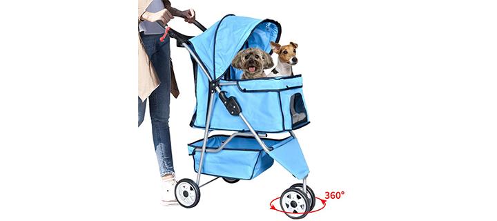 Bigacc Cat Stroller Cart with 3-Wheels