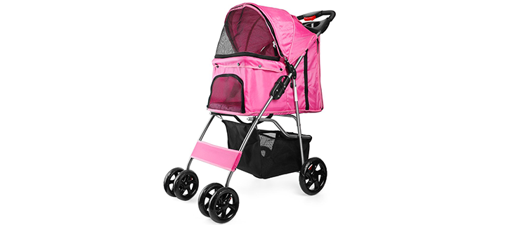 Flexzion 4-Wheel Carriage Cage Cat Stroller